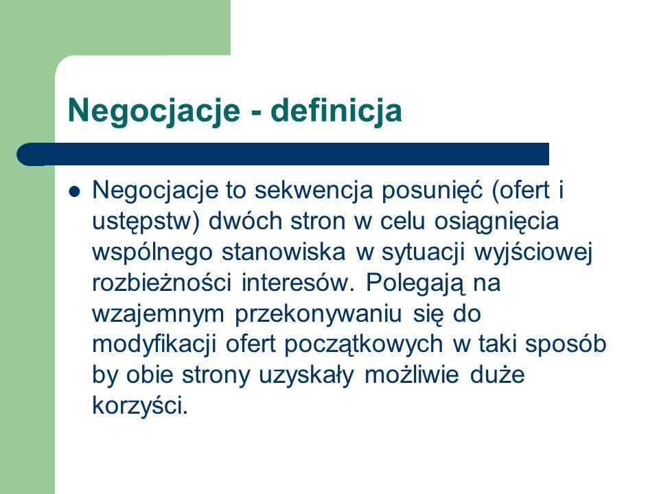 Negocjacje - definicja Negocjacje to sekwencja posunięć (ofert i ustępstw) dwóch stron w celu osiągnięcia wspólnego stanowiska w sytuacji wyjściowej r