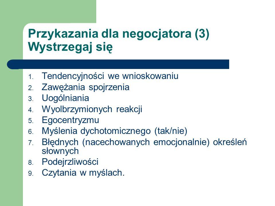 Przykazania dla negocjatora (3) Wystrzegaj się 1. Tendencyjności we wnioskowaniu 2. Zawężania spojrzenia 3. Uogólniania 4. Wyolbrzymionych reakcji 5.
