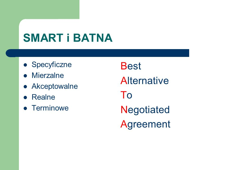 SMART i BATNA Specyficzne Mierzalne Akceptowalne Realne Terminowe Best Alternative ToTo Negotiated Agreement