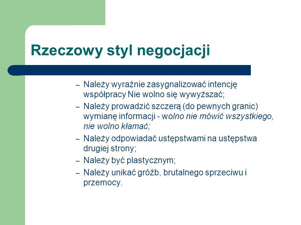 Rzeczowy styl negocjacji – Należy wyraźnie zasygnalizować intencję współpracy Nie wolno się wywyższać; – Należy prowadzić szczerą (do pewnych granic)