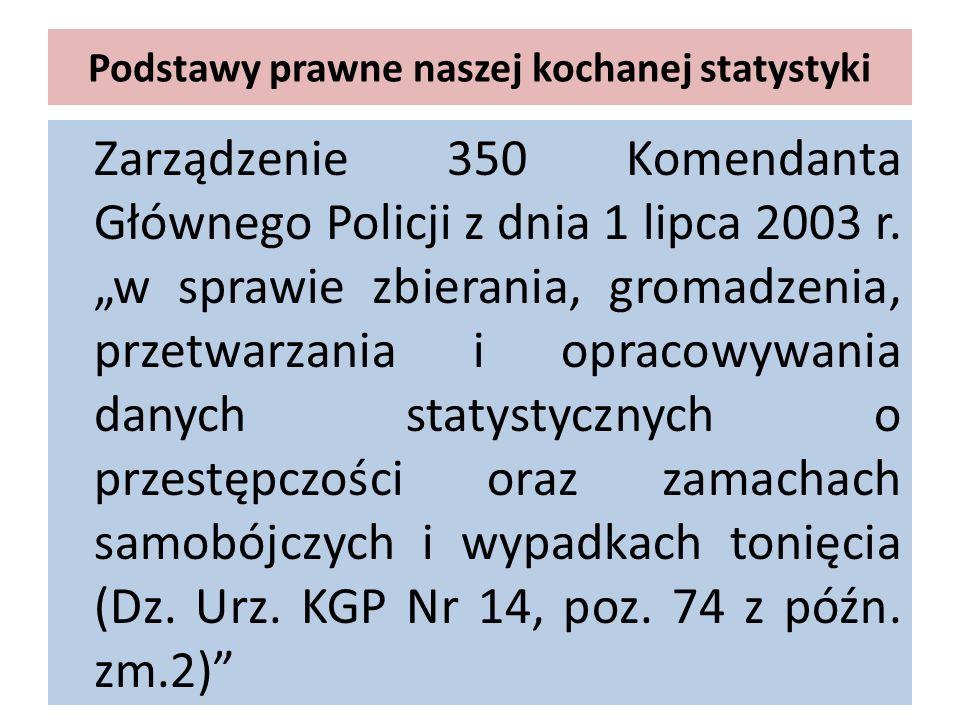 Podstawy prawne naszej kochanej statystyki Zarządzenie 350 Komendanta Głównego Policji z dnia 1 lipca 2003 r. w sprawie zbierania, gromadzenia, przetw