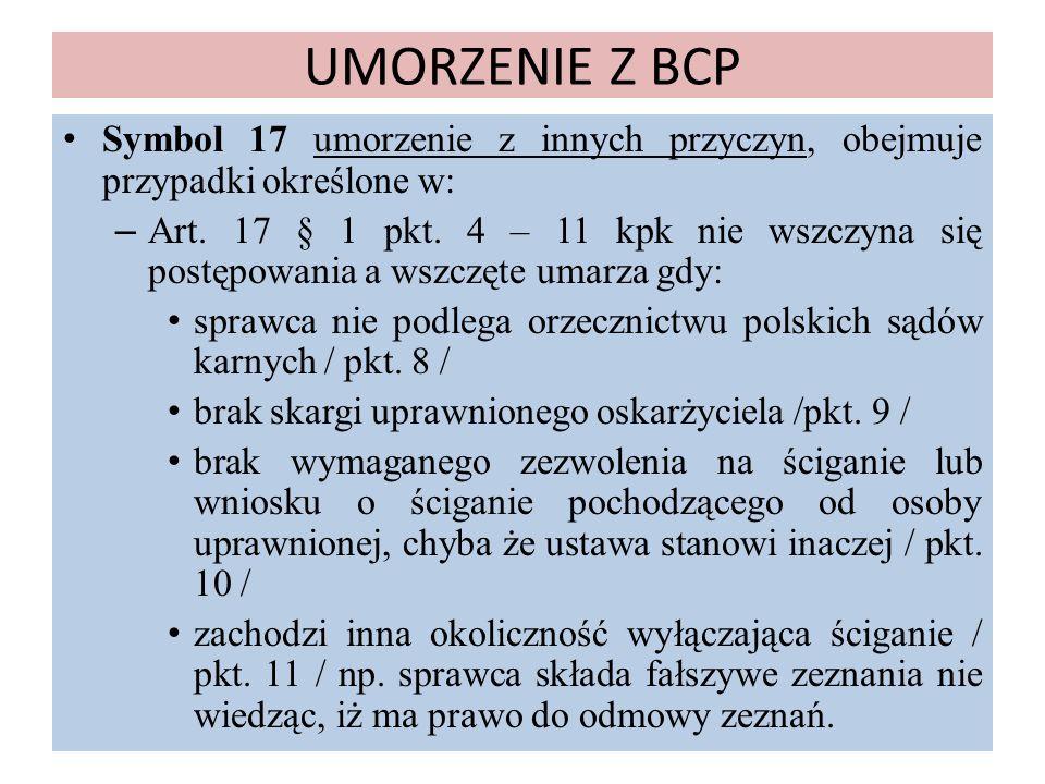 UMORZENIE Z BCP Symbol 17 umorzenie z innych przyczyn, obejmuje przypadki określone w: – Art. 17 § 1 pkt. 4 – 11 kpk nie wszczyna się postępowania a w