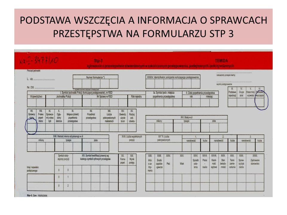 PODSTAWA WSZCZĘCIA A INFORMACJA O SPRAWCACH PRZESTĘPSTWA NA FORMULARZU STP 3