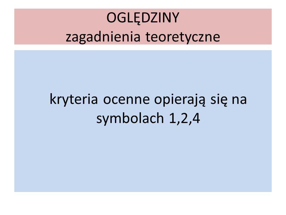 OGLĘDZINY zagadnienia teoretyczne kryteria ocenne opierają się na symbolach 1,2,4
