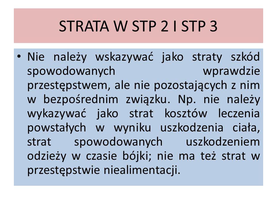 STRATA W STP 2 I STP 3 Nie należy wskazywać jako straty szkód spowodowanych wprawdzie przestępstwem, ale nie pozostających z nim w bezpośrednim związk