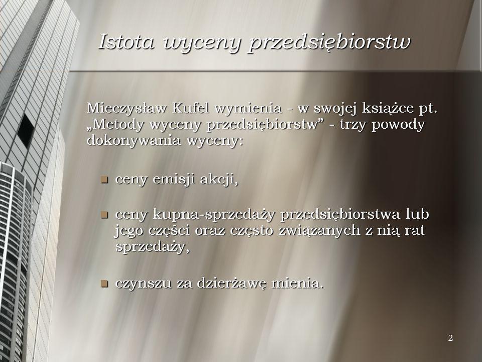 2 Istota wyceny przedsiębiorstw Mieczysław Kufel wymienia - w swojej książce pt. Metody wyceny przedsiębiorstw - trzy powody dokonywania wyceny: ceny