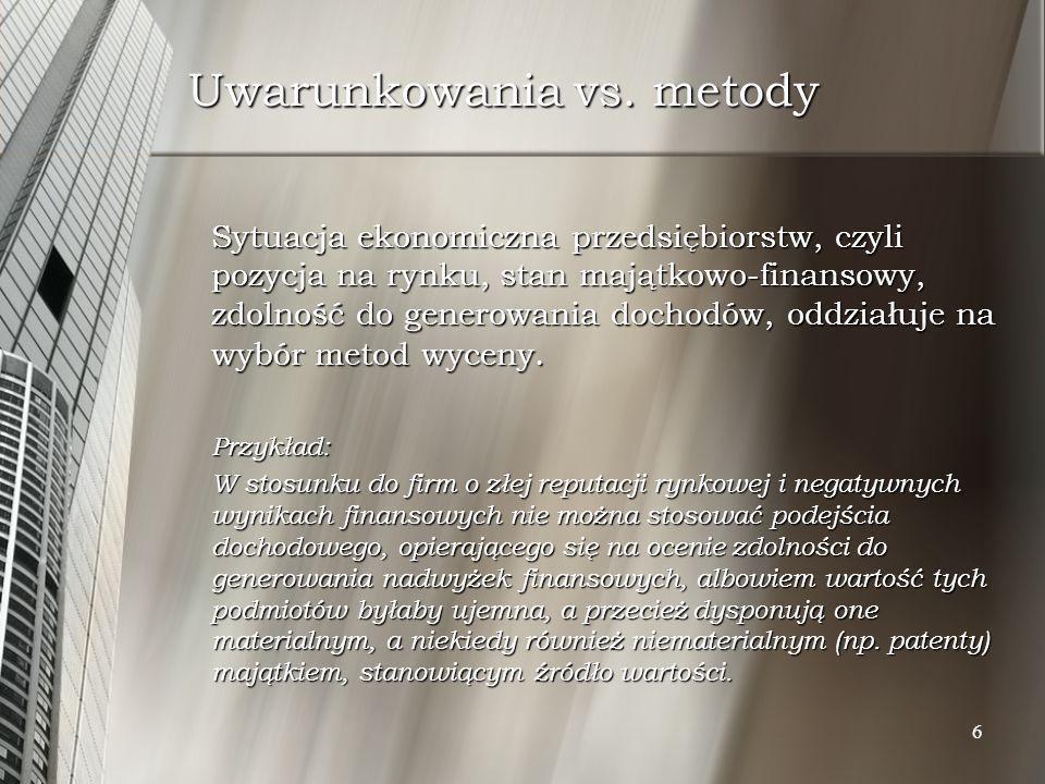 17 Rodzaje metod majątkowych W literaturze przedmiotu, a także w praktyce tak polskiej, jak i zagranicznej wskazuje się na następujące metody majątkowe: W literaturze przedmiotu, a także w praktyce tak polskiej, jak i zagranicznej wskazuje się na następujące metody majątkowe: metodę księgową (book value method) i jej modyfikację tj.
