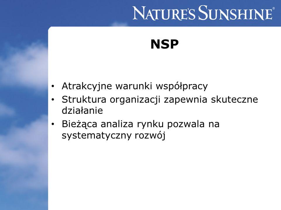 NSP Atrakcyjne warunki współpracy Struktura organizacji zapewnia skuteczne działanie Bieżąca analiza rynku pozwala na systematyczny rozwój