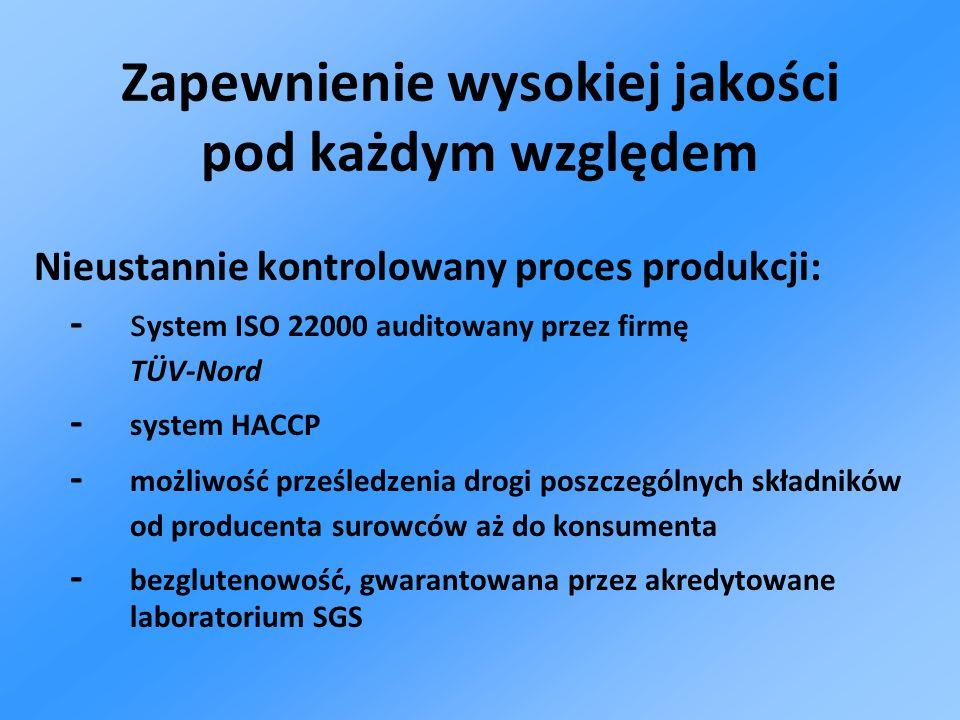 Nieustannie kontrolowany proces produkcji: - s ystem ISO 22000 auditowany przez firmę TÜV-Nord - system HACCP - możliwość prześledzenia drogi poszczeg