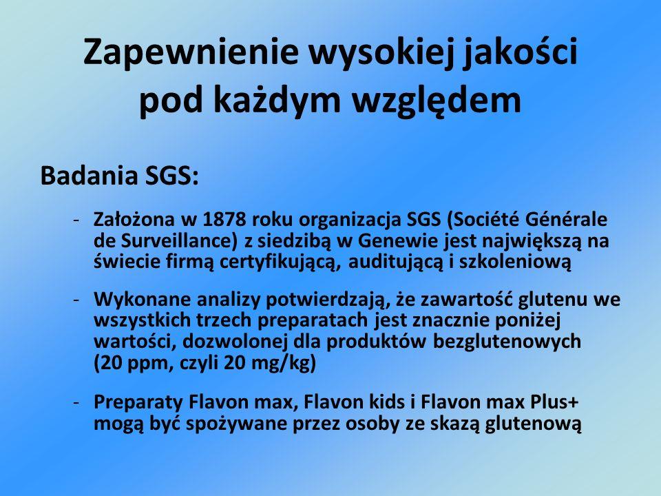 Badania SGS: -Założona w 1878 roku organizacja SGS (Société Générale de Surveillance) z siedzibą w Genewie jest największą na świecie firmą certyfikuj