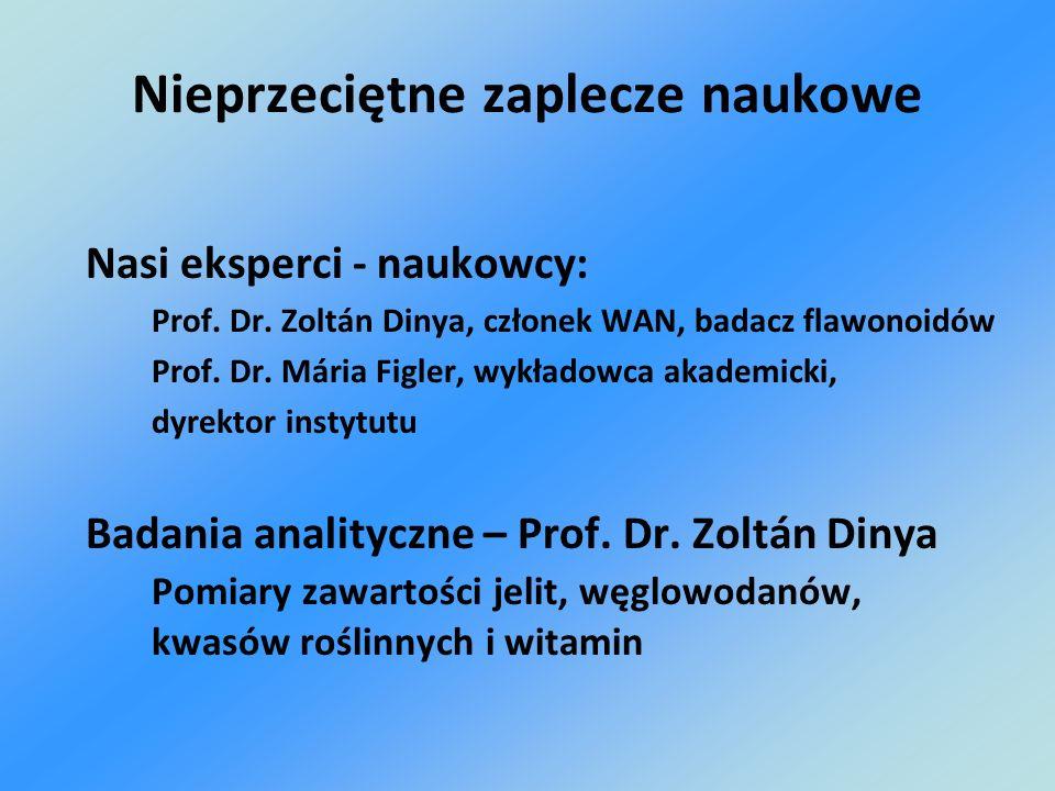 Nieprzeciętne zaplecze naukowe Nasi eksperci - naukowcy: Prof. Dr. Zoltán Dinya, członek WAN, badacz flawonoidów Prof. Dr. Mária Figler, wykładowca ak
