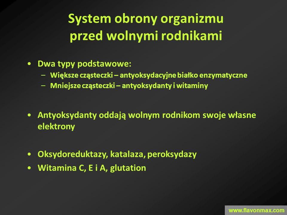 System obrony organizmu przed wolnymi rodnikami Dwa typy podstawowe: –Większe cząsteczki – antyoksydacyjne białko enzymatyczne –Mniejsze cząsteczki –