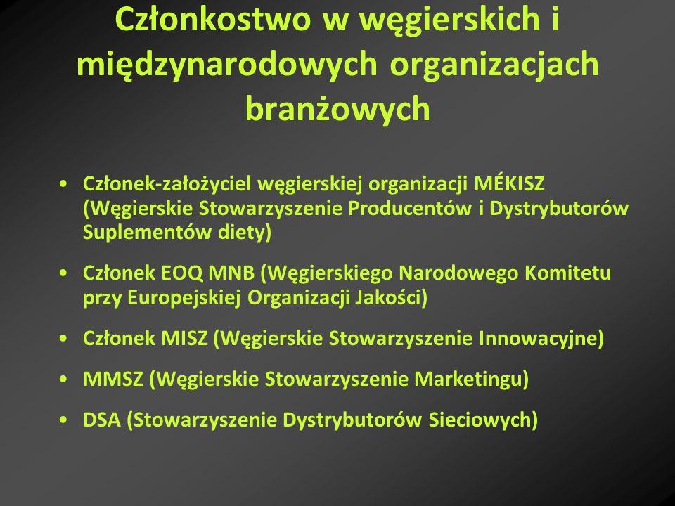 Członkostwo w węgierskich i międzynarodowych organizacjach branżowych Członek-założyciel węgierskiej organizacji MÉKISZ (Węgierskie Stowarzyszenie Pro