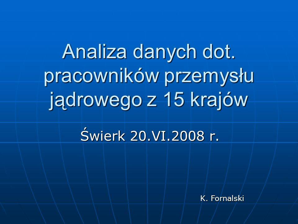 Analiza danych dot. pracowników przemysłu jądrowego z 15 krajów Świerk 20.VI.2008 r. K. Fornalski