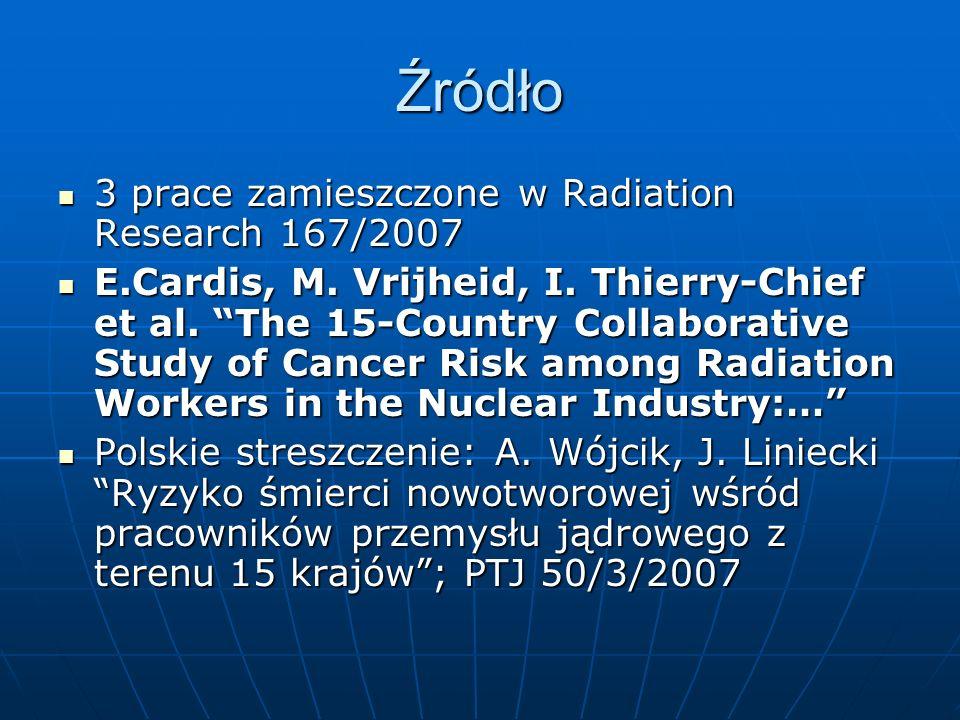 Źródło 3 prace zamieszczone w Radiation Research 167/2007 3 prace zamieszczone w Radiation Research 167/2007 E.Cardis, M.