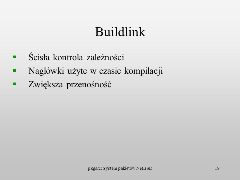 pkgsrc: System pakietów NetBSD19 Buildlink Ścisła kontrola zależności Nagłówki użyte w czasie kompilacji Zwiększa przenośność