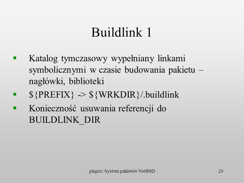 pkgsrc: System pakietów NetBSD20 Buildlink 1 Katalog tymczasowy wypełniany linkami symbolicznymi w czasie budowania pakietu – nagłówki, biblioteki ${P