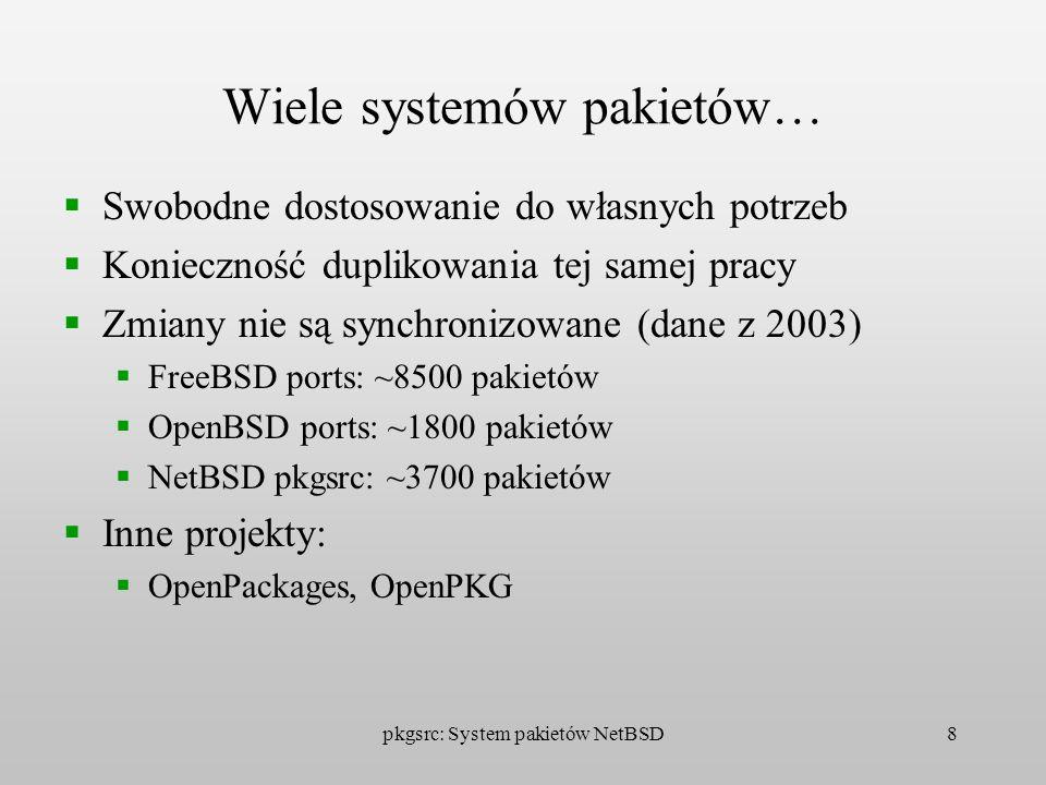 pkgsrc: System pakietów NetBSD8 Wiele systemów pakietów… Swobodne dostosowanie do własnych potrzeb Konieczność duplikowania tej samej pracy Zmiany nie
