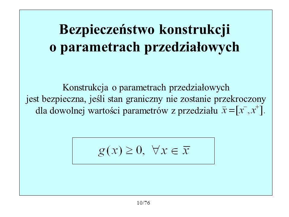 10/76 Bezpieczeństwo konstrukcji o parametrach przedziałowych Konstrukcja o parametrach przedziałowych jest bezpieczna, jeśli stan graniczny nie zosta