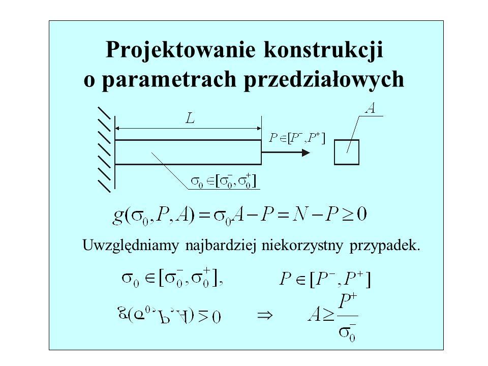 11/76 Projektowanie konstrukcji o parametrach przedziałowych Uwzględniamy najbardziej niekorzystny przypadek.