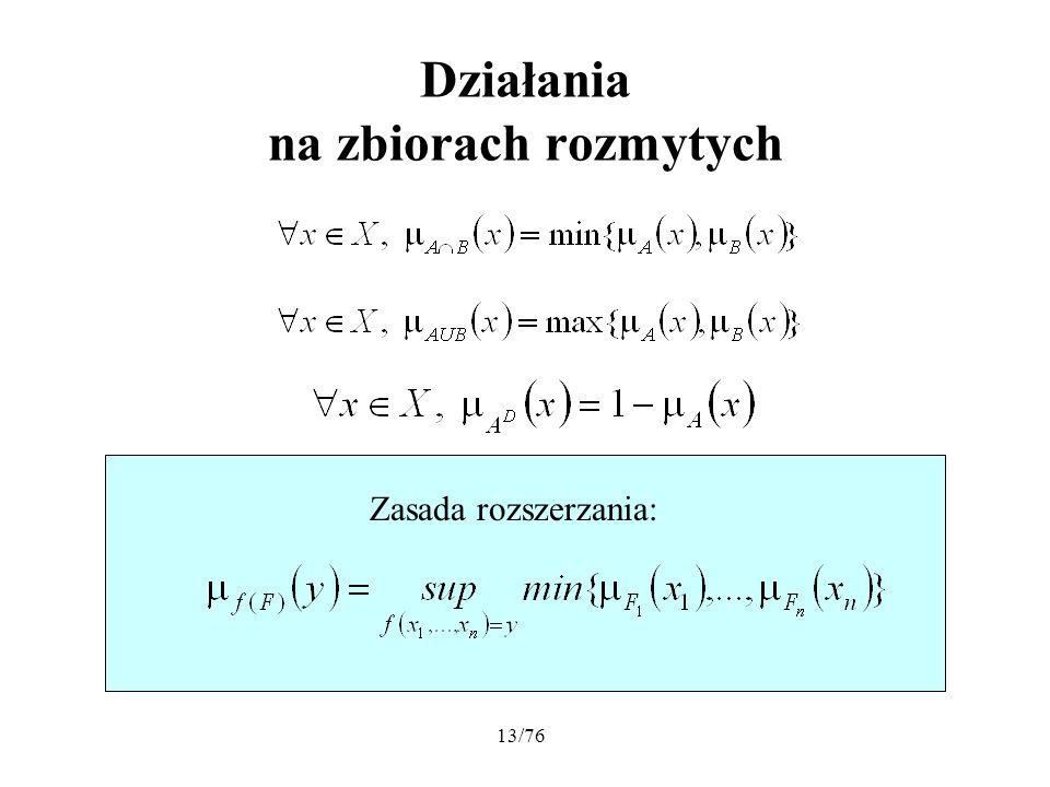 13/76 Działania na zbiorach rozmytych Zasada rozszerzania: