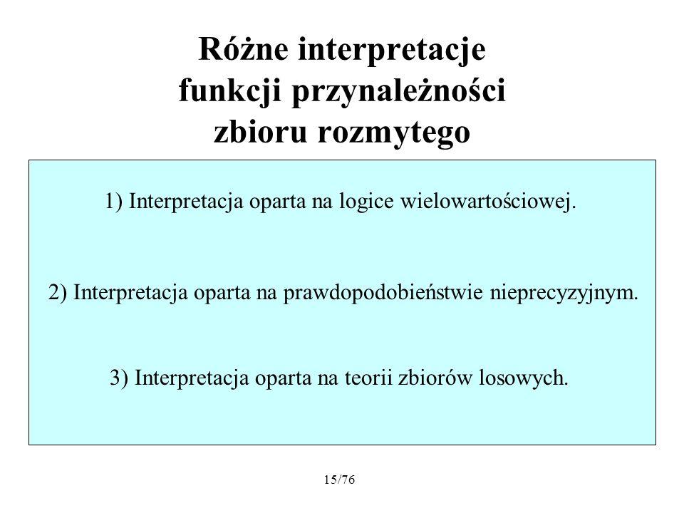 15/76 Różne interpretacje funkcji przynależności zbioru rozmytego 1) Interpretacja oparta na logice wielowartościowej. 3) Interpretacja oparta na teor