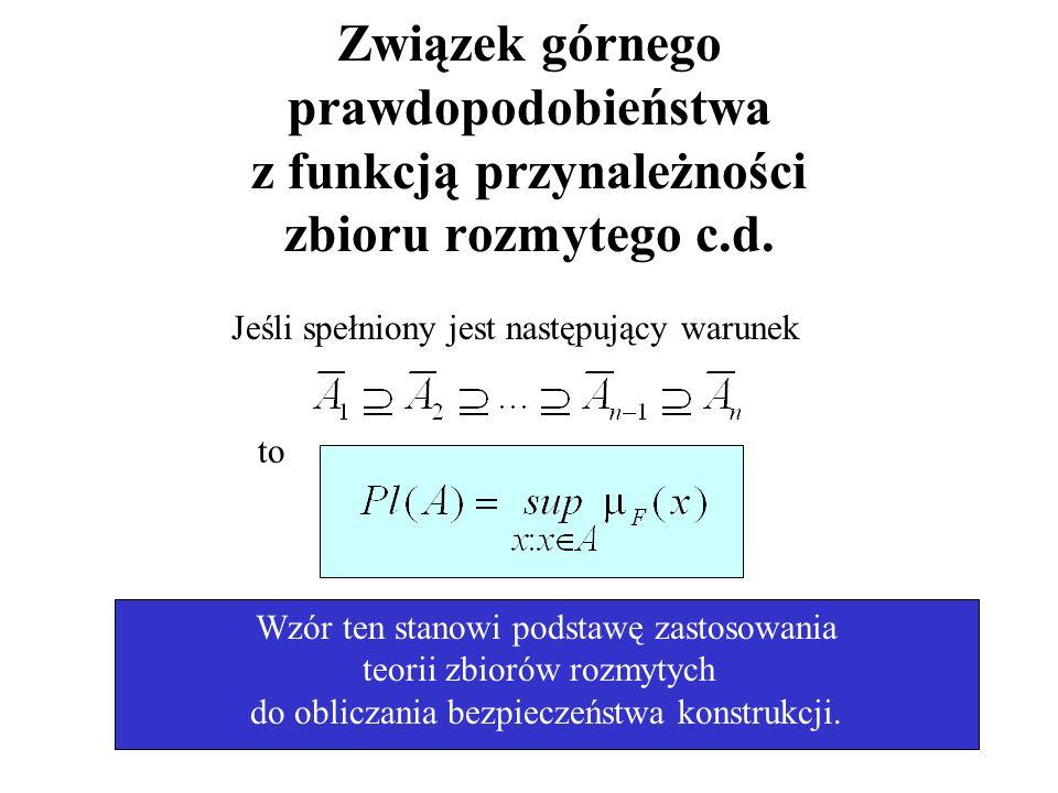 20/76 Związek górnego prawdopodobieństwa z funkcją przynależności zbioru rozmytego c.d. Jeśli spełniony jest następujący warunek to Wzór ten stanowi p
