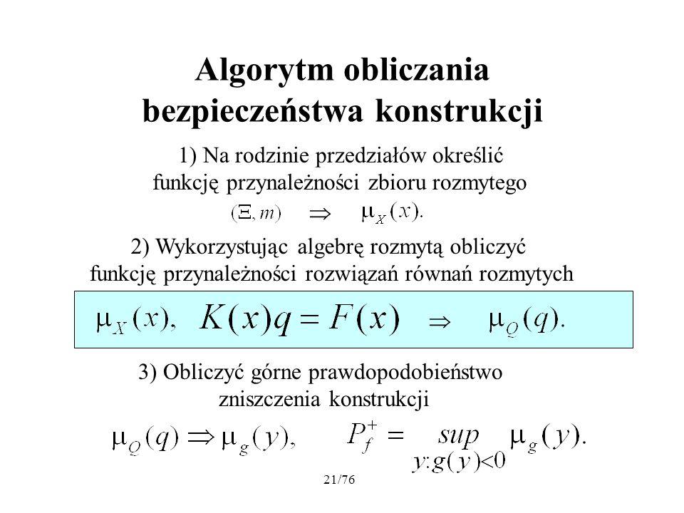 21/76 Algorytm obliczania bezpieczeństwa konstrukcji 1) Na rodzinie przedziałów określić funkcję przynależności zbioru rozmytego 2) Wykorzystując alge
