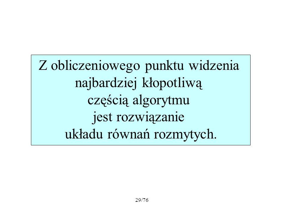 29/76 Z obliczeniowego punktu widzenia najbardziej kłopotliwą częścią algorytmu jest rozwiązanie układu równań rozmytych.