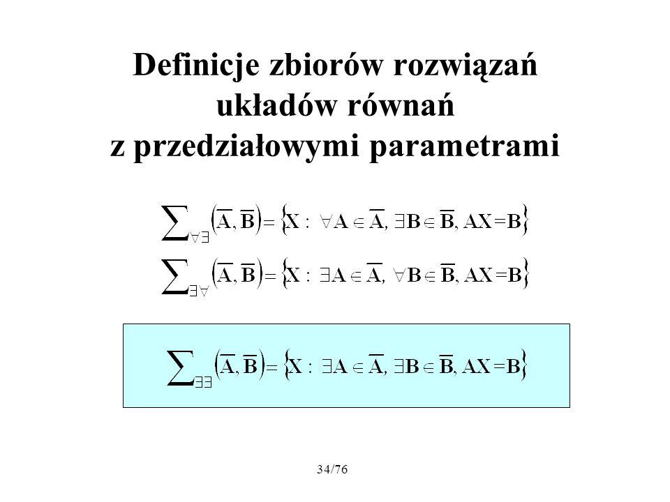 34/76 Definicje zbiorów rozwiązań układów równań z przedziałowymi parametrami
