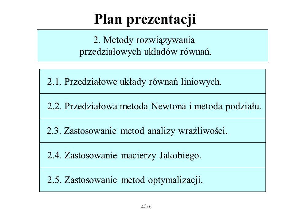 4/76 Plan prezentacji 2. Metody rozwiązywania przedziałowych układów równań. 2.1. Przedziałowe układy równań liniowych.2.2. Przedziałowa metoda Newton