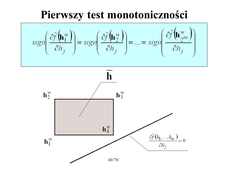 49/76 Pierwszy test monotoniczności