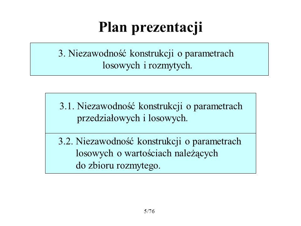 5/76 Plan prezentacji 3. Niezawodność konstrukcji o parametrach losowych i rozmytych. 3.2. Niezawodność konstrukcji o parametrach losowych o wartościa