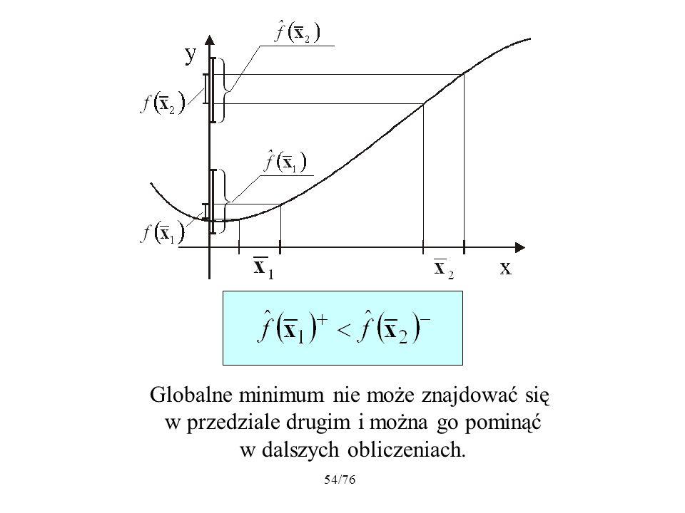54/76 Globalne minimum nie może znajdować się w przedziale drugim i można go pominąć w dalszych obliczeniach.