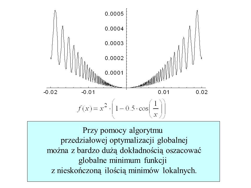 55/76 Przy pomocy algorytmu przedziałowej optymalizacji globalnej można z bardzo dużą dokładnością oszacować globalne minimum funkcji z nieskończoną i