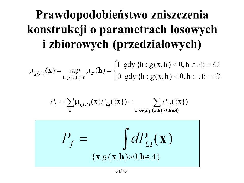 64/76 Prawdopodobieństwo zniszczenia konstrukcji o parametrach losowych i zbiorowych (przedziałowych)