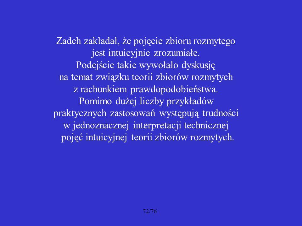 72/76 Zadeh zakładał, że pojęcie zbioru rozmytego jest intuicyjnie zrozumiałe. Podejście takie wywołało dyskusję na temat związku teorii zbiorów rozmy