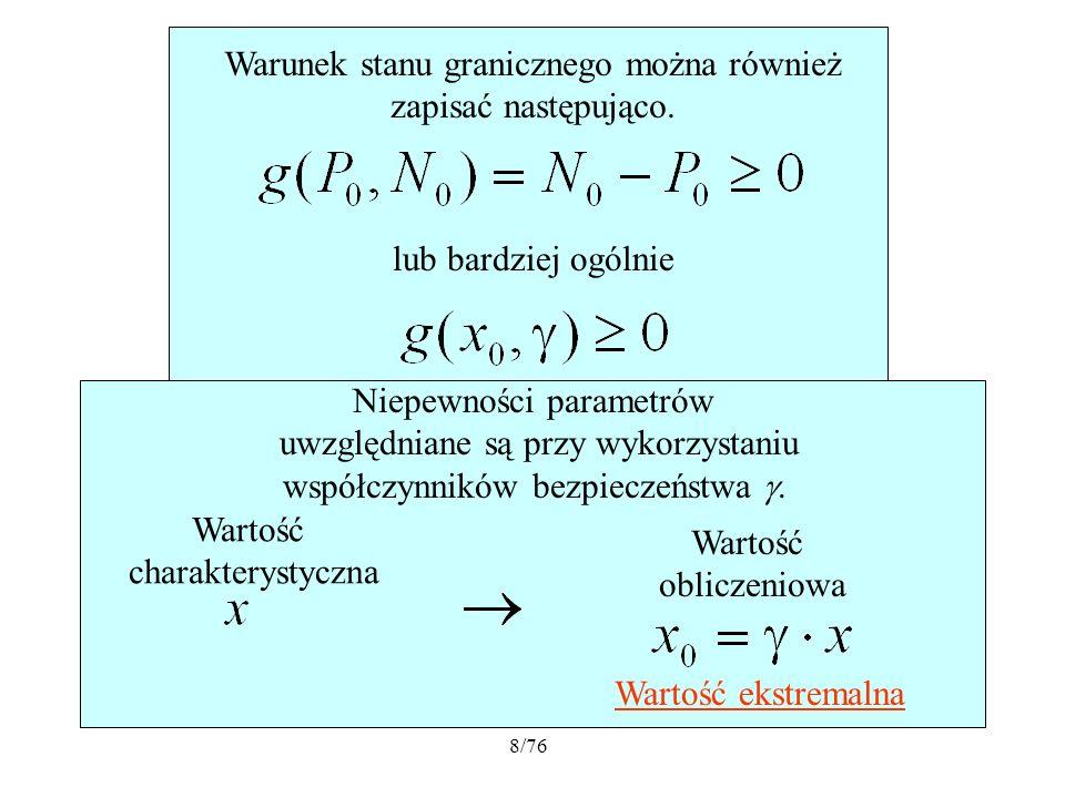9/76 Niezawodność konstrukcji w ujęciu probabilistycznym gdzie jest wektorem losowych parametrów konstrukcji i obciążenia.