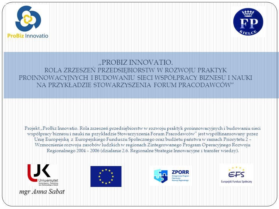 mgr Anna Sabat Projekt ProBiz Innovatio. Rola zrzeszeń przedsiębiorstw w rozwoju praktyk proinnowacyjnych i budowaniu sieci współpracy biznesu i nauki
