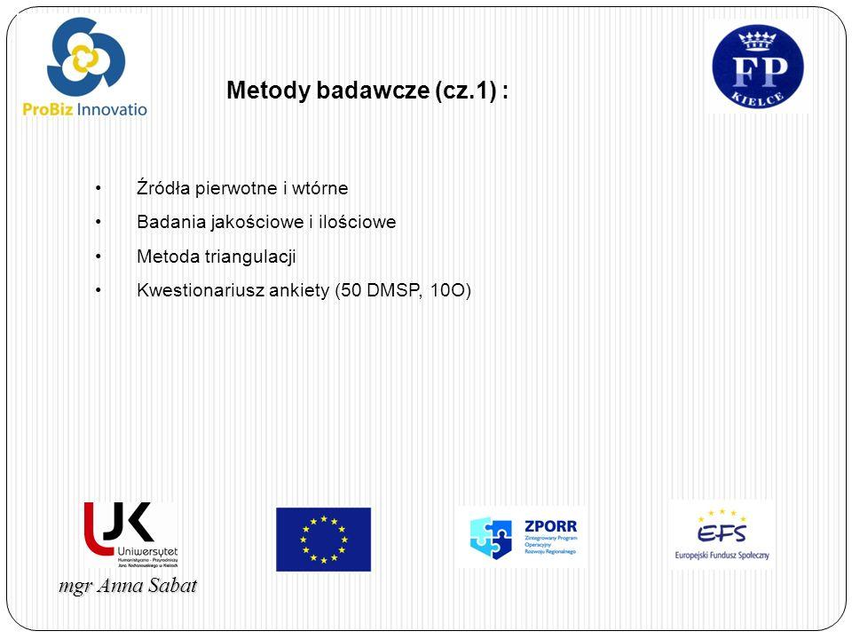 mgr Anna Sabat Metody badawcze (cz.1) : Źródła pierwotne i wtórne Badania jakościowe i ilościowe Metoda triangulacji Kwestionariusz ankiety (50 DMSP,