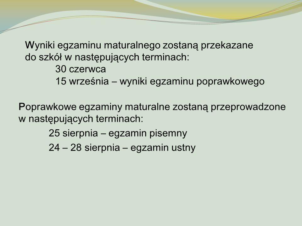 Wyniki egzaminu maturalnego zostaną przekazane do szkół w następujących terminach: 30 czerwca 15 września – wyniki egzaminu poprawkowego Poprawkowe eg