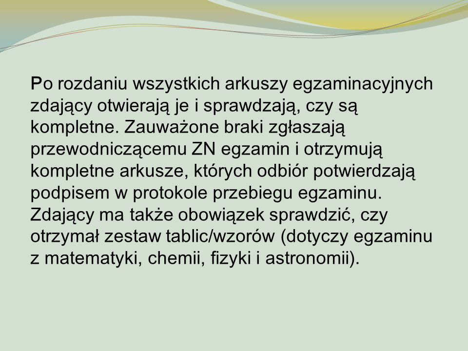 Warunki zdania egzaminu maturalnego Zdający zdał egzamin maturalny, jeżeli z każdego egzaminu obowiązkowego: a) w części ustnej egzaminu z języka polskiego i języka obcego nowożytnego na zadeklarowanym poziomie uzyskał co najmniej 30% punktów możliwych do uzyskania za każdy egzamin, b) w części pisemnej egzaminu z języka polskiego, języka obcego nowożytnego i przedmiotu do wyboru uzyskał co najmniej 30% punktów możliwych do zdobycia na zadeklarowanym poziomie.