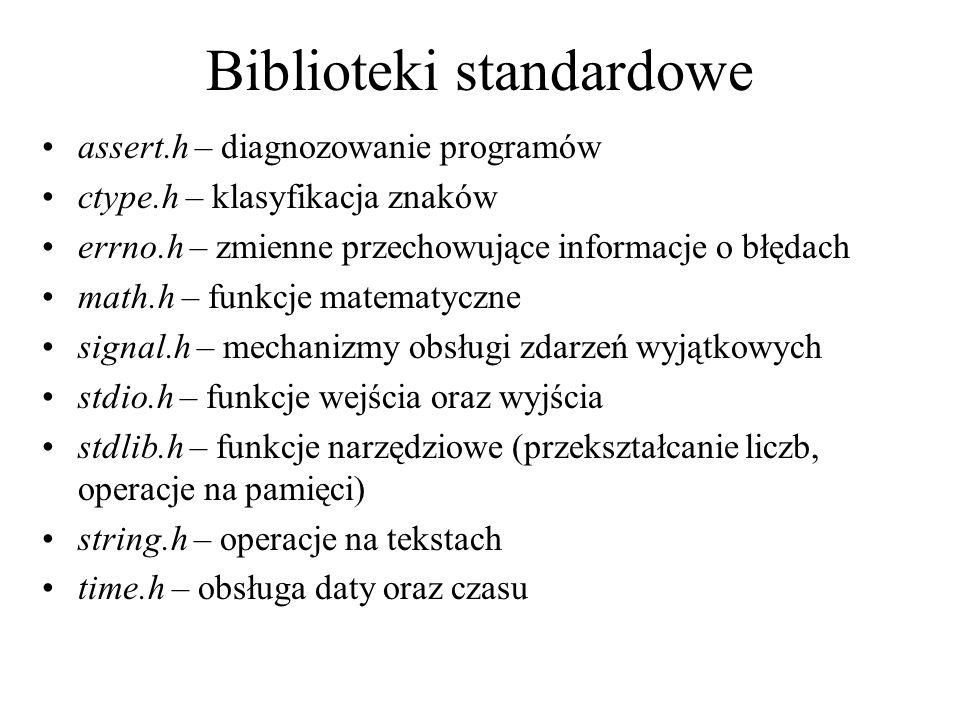 Biblioteki standardowe assert.h – diagnozowanie programów ctype.h – klasyfikacja znaków errno.h – zmienne przechowujące informacje o błędach math.h –