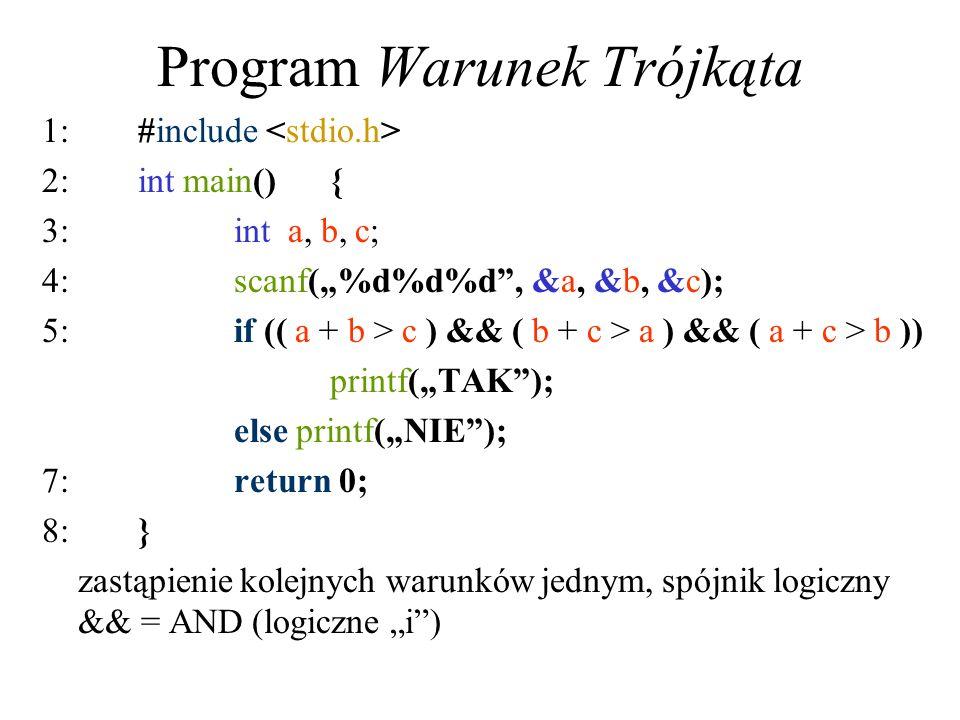 Program Warunek Trójkąta 1:#include 2:int main(){ 3:int a, b, c; 4:scanf(%d%d%d, &a, &b, &c); 5:if (( a + b > c ) && ( b + c > a ) && ( a + c > b )) p