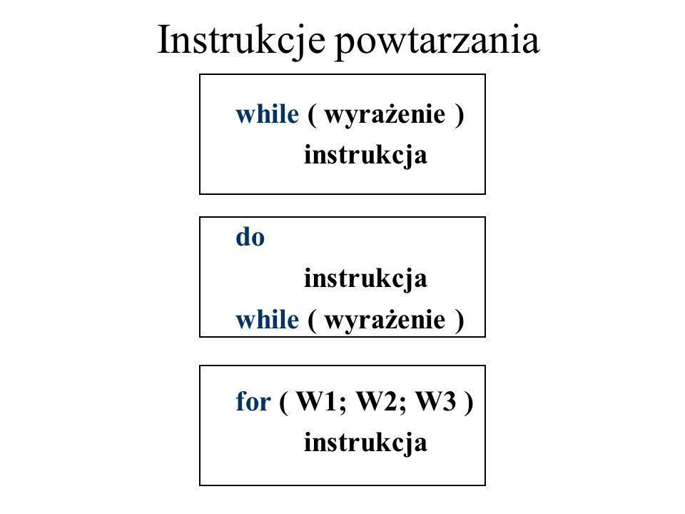 Instrukcje powtarzania while ( wyrażenie ) instrukcja do instrukcja while ( wyrażenie ) for ( W1; W2; W3 ) instrukcja