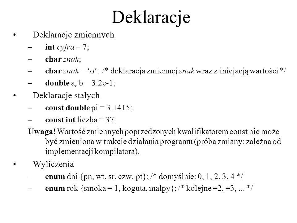 Deklaracje Deklaracje zmiennych –int cyfra = 7; –char znak; –char znak = o;/* deklaracja zmiennej znak wraz z inicjacją wartości */ –double a, b = 3.2