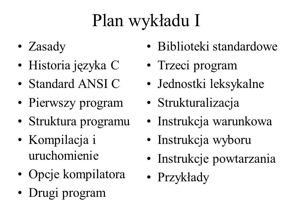 Plan wykładu I Zasady Historia języka C Standard ANSI C Pierwszy program Struktura programu Kompilacja i uruchomienie Opcje kompilatora Drugi program