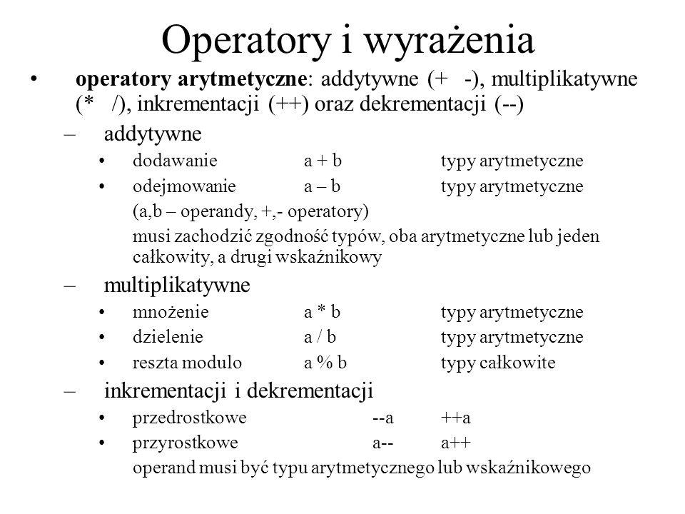 Operatory i wyrażenia operatory arytmetyczne: addytywne (+ -), multiplikatywne (* /), inkrementacji (++) oraz dekrementacji (--) –addytywne dodawanie