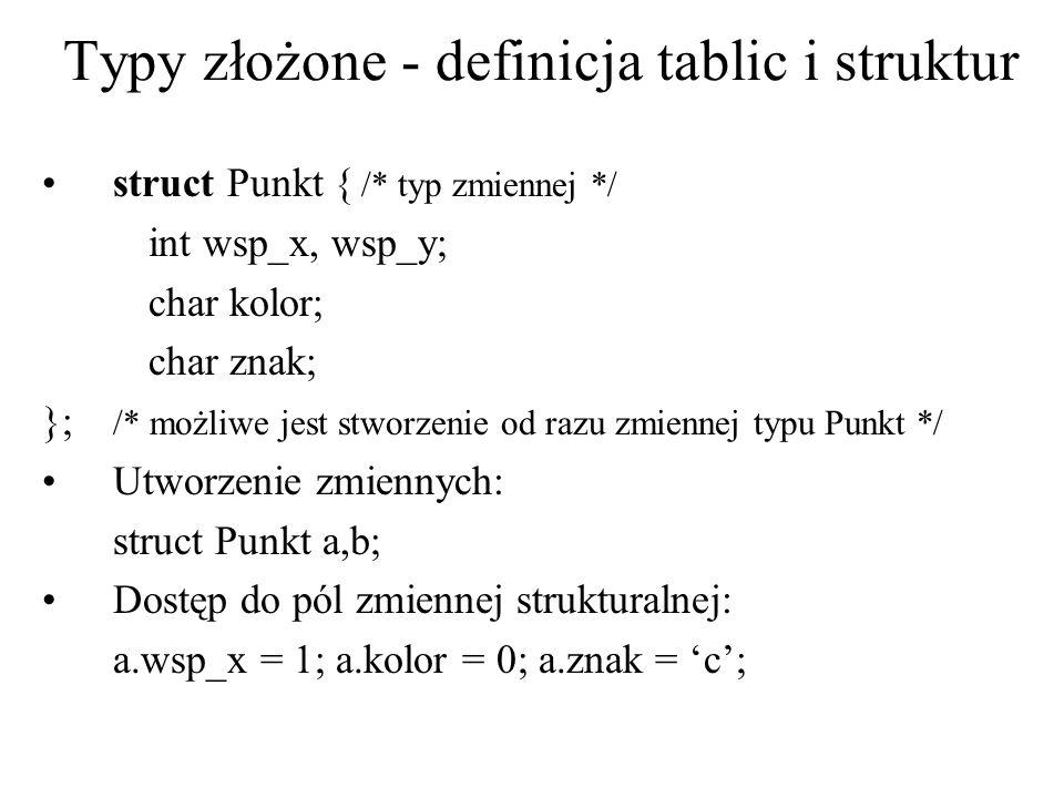 Typy złożone - definicja tablic i struktur struct Punkt { /* typ zmiennej */ int wsp_x, wsp_y; char kolor; char znak; }; /* możliwe jest stworzenie od