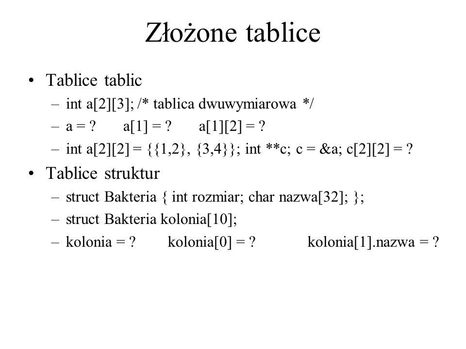 Złożone tablice Tablice tablic –int a[2][3]; /* tablica dwuwymiarowa */ –a = ? a[1] = ? a[1][2] = ? –int a[2][2] = {{1,2}, {3,4}}; int **c; c = &a; c[